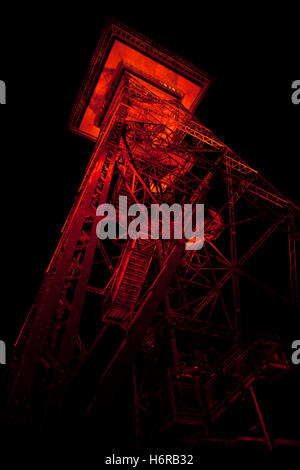 coloured colourful gorgeous multifarious richly coloured berlin twilight radio tower in the evening lighting illumination - Stock Photo