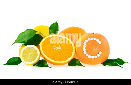 vitamins vitamines progenies fruits pills means agent medicine drug remedy substance medicin tablet citrus pill - Stock Photo