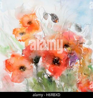capsules with poppies - Stock Photo
