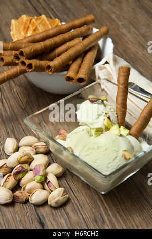 close blue macro close-up macro admission close up view sweet green cold frozen cream nut product dairy flavor pistachio - Stock Photo