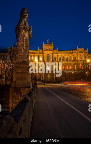 maximilianeum with bridge and statue lichtspuren - Stock Photo