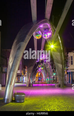Blackpool, Lancashire, UK.  1st November, 2016. The arches of Birley street illuminated for the penultimate evening - Stock Photo
