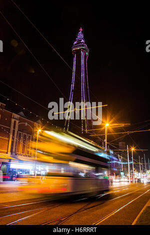 Blackpool Tower at night, Lancashire, UK. Lightpool Festival launches at home of Blackpool Illuminations. Blackpool - Stock Photo