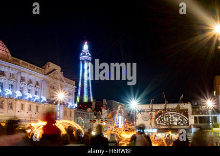 Blackpool, Lancashire, UK. 1st November, 2016. Les Commandos Percu,  and the FireWorks Collective at the Lightpool - Stock Photo