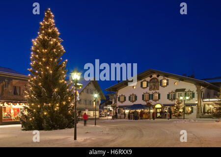 Christmas Tree And Lighting And Decorations At The Village