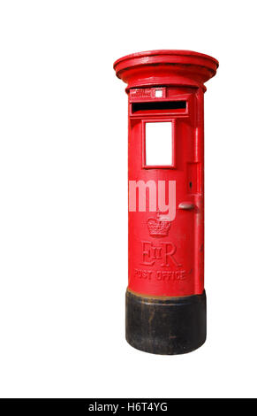 isolated mailbox box boxes mail post british pillar travel city town isolated colour antique black swarthy jetblack - Stock Photo