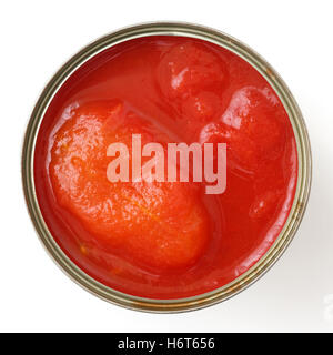 Whole open can of tomatoes isolated from above. - Stock Photo