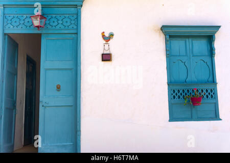 Blue and white historic colonial architecture in Barichara, Colombia - Stock Photo