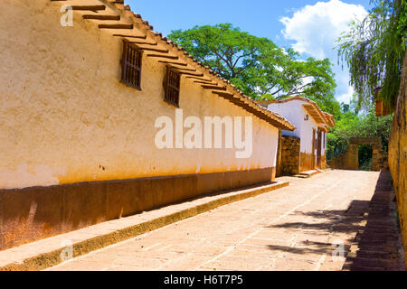 View of a sandstone street in beautiful colonial Barichara, Colombia - Stock Photo