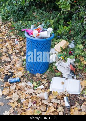 Overflowing litter bin, Sunderland, Tyne and Wear, England, UK - Stock Photo