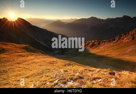beautiful sunrise in high Alps, Austria - Stock Photo