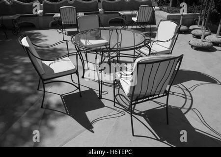 Furniture, patio, metal, black, iron, wrought, outdoor, chair, garden, empty, design, relax, table, white, ornate, - Stock Photo