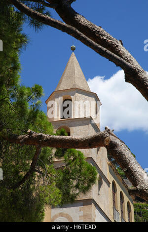 Church, worship, place, religion, pine, tree, building, of, architecture, Christianity, sky, exterior, white, old, - Stock Photo