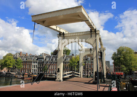 magere brug (skinny bridge) in amsterdam on the amstel - Stock Photo