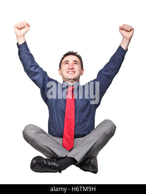 blank european caucasian business man businessman put sitting sit delighted unambitious enthusiastic merry radiant - Stock Photo