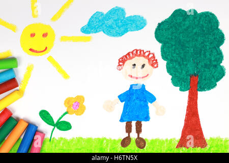 children picture a meadow with crayons Stock Photo