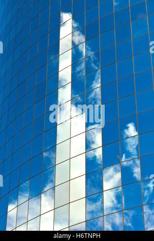 city town reflection usa skyline aluminum aluminium above new york skyscrapers skyscraper blue tower glass chalice - Stock Photo