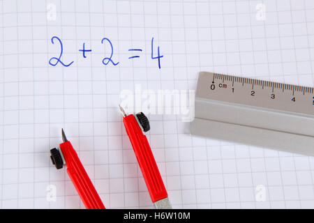 study handle class geometry circle ruler pisa implements mathematics office supply math enrollment exercise book - Stock Photo