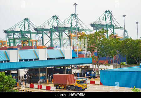 industrial traffic transportation goal passage gate archgway gantry entrance car automobile vehicle means of travel - Stock Photo