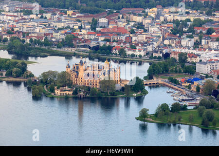 schwerin castle and the city center from the balloon - Stock Photo