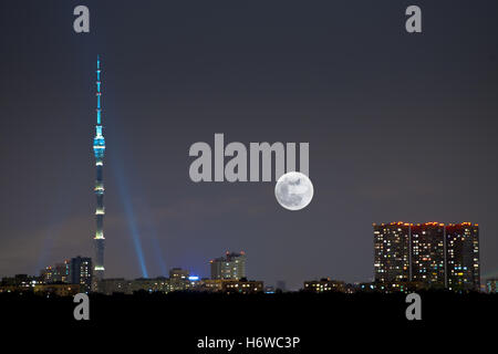 sign signal blue house building tower big large enormous extreme powerful imposing immense relevant city town horizon - Stock Photo