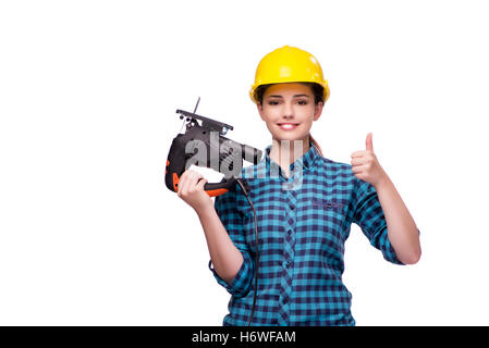 Young woman in industrial concept isolated on white - Stock Photo