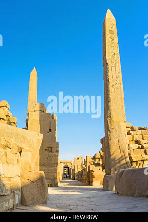 Two Obelisks of  Queen Hatshepsut, located next to the Temple of Amon in Karnak Complex, Luxor, Egypt. - Stock Photo