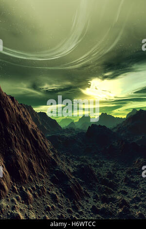 hill horizon stone space universe science moon fantasy rock illustration dawn crater digital discover terrain crazy - Stock Photo