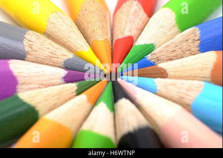 blue coloured colourful gorgeous multifarious richly coloured rainbow pencil pen style pencils colored pencils crayon - Stock Photo