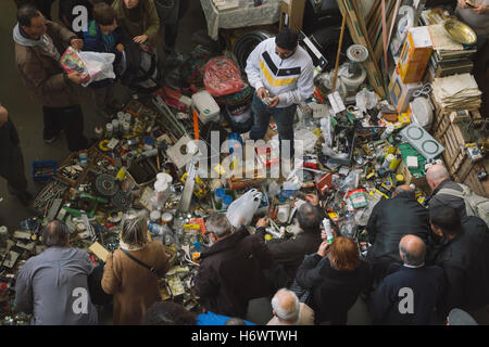 Crowded flea market in Barcelona, Spain, called Mercat dels Encants - Stock Photo