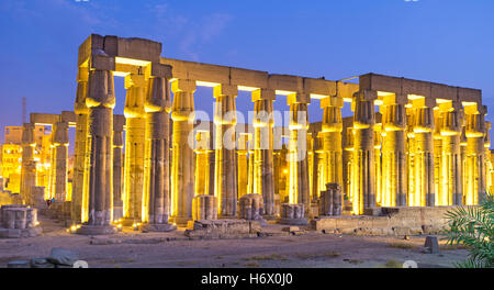 The numerous huge columns are the preserved part of the Luxor Temple, Egypt. - Stock Photo