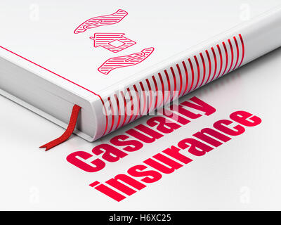Insurance concept: book House And Palm, Casualty Insurance on white background - Stock Photo
