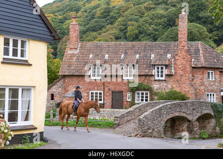 The Packhorse Bridge at Allerford, Exmoor National, Park, Somerset, England, UK - Stock Photo