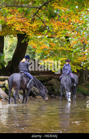Autumn at Tarr Steps clapper bridge crossing the River Barle, Exmoor National Park, Somerset, England, UK - Stock Photo