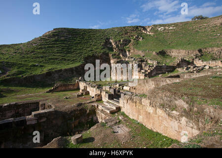 The archaeological site of Abila Dekapoleos in the Decapolis which was an ancient Roman city and Christian episcopal - Stock Photo