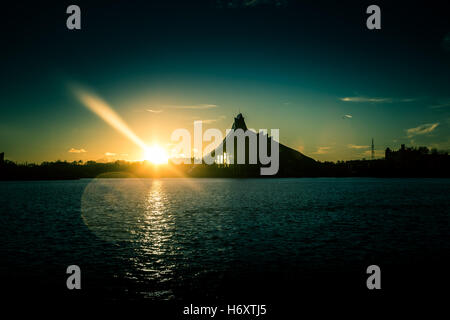 Building of a National Library in sunset - Stock Photo