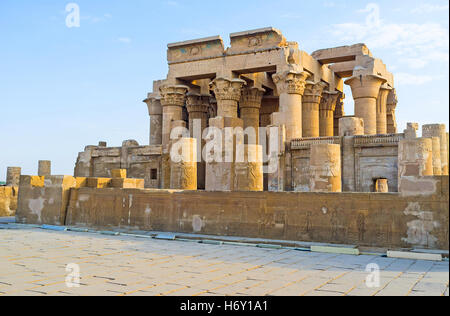 The ancient Kom Ombo Temple stands at the bank of Nile River and is the important point of Nile Cruise excursions, - Stock Photo