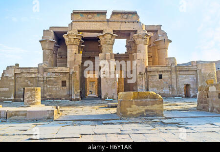 The double entrance to the ancient Kom Ombo Temple, dedicated to Gods Sobek and Horus, Egypt. - Stock Photo