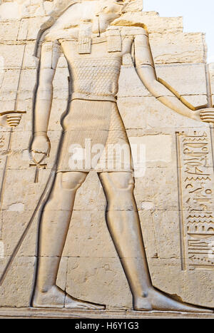 The giant relief of Horus in sanctuary of Kom Ombo Temple, Egypt. - Stock Photo