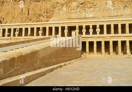 The Hatshepsut Memorial Temple is famous for its colonnaded design, Luxor, Egypt. - Stock Photo