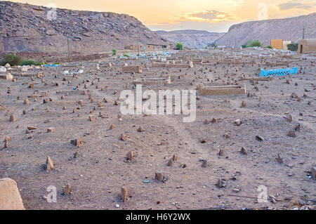 The old muslim cemetery with the small rocks instead of the gravestones in the Upper Egyptian village of Nagaa Al - Stock Photo