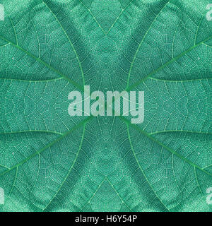 Leaf seamless pattern bluish green color - Stock Photo