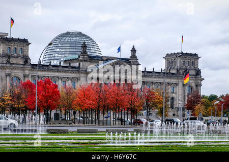 Berlin, Mitte. Reichstag Government Building In Autumn. German Federal Parliament Bundestag, Norman Foster Dome - Stock Photo