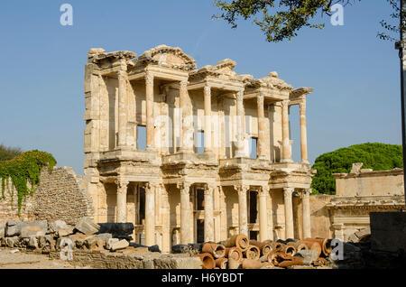 Library of Celsus no tourists wop, Ephesus Sekcuk Izmir Turkey - Stock Photo