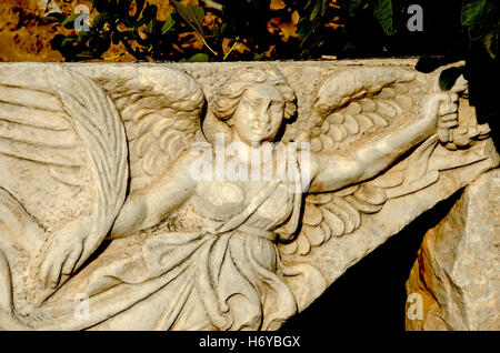 ... Carved stone of Nike Greek goddess of victory and Roman goddess Victoria,  Ephesus Turkey -