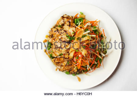 Chinese chicken salad with stir fry vegetables and greens - Stock Photo