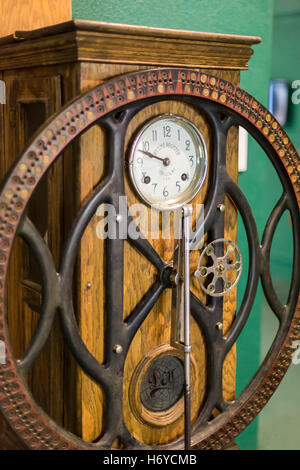 Leadville, Colorado - A time clock on display at the National Mining Hall of Fame and Museum. - Stock Photo