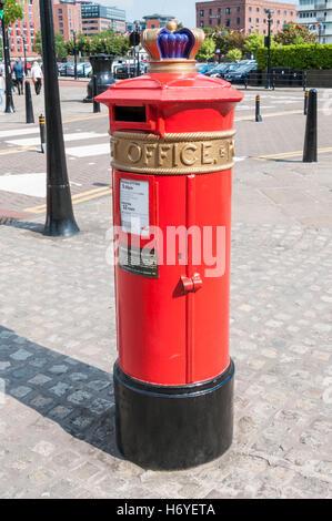 A Liverpool Special pillar box. - Stock Photo