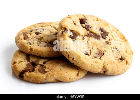 Three light chocolate chip cookies isolated on white. In perspective. - Stock Photo