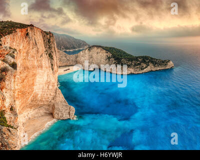 The famous Navagio (shipwreck) in Zakynthos island, Greece - Stock Photo